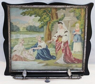 Antique Framed Silk & Beads Embroidery - Ladies & Baby Moses - Circa 1800s