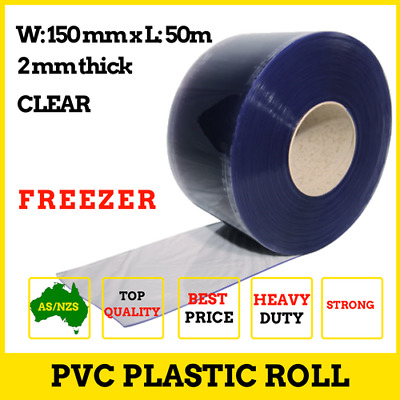 Clear PVC Roll- Extra Strong, 50m 150x2mm, Great for Freezer PVC Strip Curtains