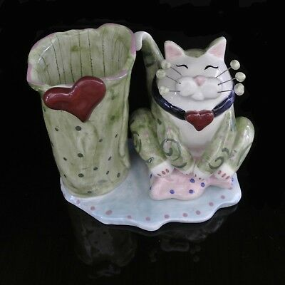 """ANNACO CREATIONS #23462 """"Cat Pencil Holder/Vase-Hearts"""" by Artist Amy Lacombe"""