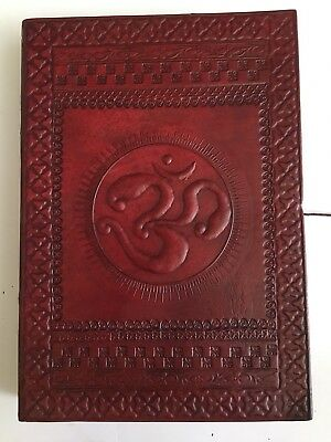 Hand Made Leather Bound Book/Journal Natural Recycled Paper-Om Symbol-25 x 18 cm
