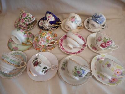 Vintage Lot 21 Tea Cups & Saucers Fine Porcelain Bone China Sets