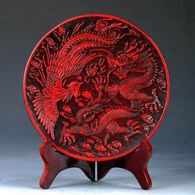 Chinese Lacquerware Hand Carved Dragon & Phoenix  Plate QQ16