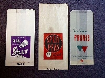 3 OLD Paper Grocery Bags - AJAX SERIES