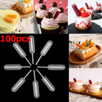 100 Plastic Disposable Squeeze Transfer Pipettes Dropper Chocolate Cupcake 4ml