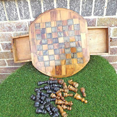 Rustic Olive Wood Chess Board And Storage For Repair + Part Set