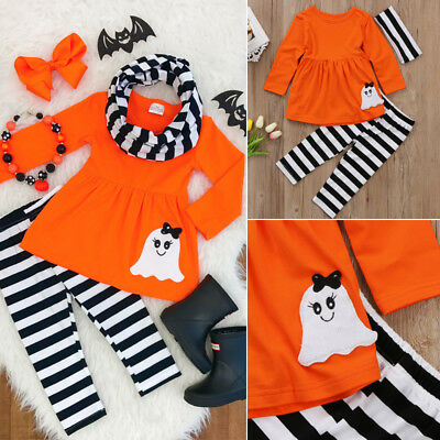 US Toddler Kids Baby Girl Top Blouse+Pant+Headband Halloween Outfits Clothes Set