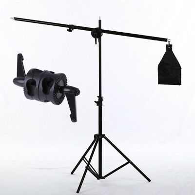 Dual Swiveling Grip Head Clamp Holder For Studio Lamp Boom Arm Reflector