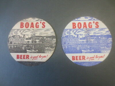 2 different. BOAGS BREWERY 1958 Issued  BEER COASTERS