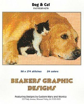 LABRADOR YELLOW & CAT Counted Cross Stitch detailed #0278