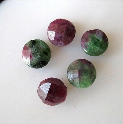 10 Pieces Natural Ruby Zoisite Round Shaped Cabochon Both Side Faceted 8mm BB148