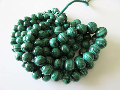 10mm -14mm Finest Quality Natural Malachite Round Beads 17 Inch Strand GDS74