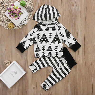 Toddler Baby Boys Girls Tops Hoodie Pants Home Outfits 2Pcs Set Clothes 0-24M