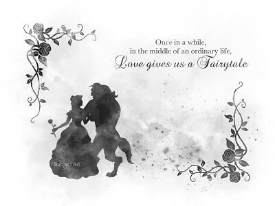 ART PRINT Beauty and the Beast Quote Princess Disney Gift Love, Black and White
