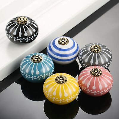 Fashion Round Ceramic Drawer Pull Handles Door Kitchen Cabinet Knobs Porcelain