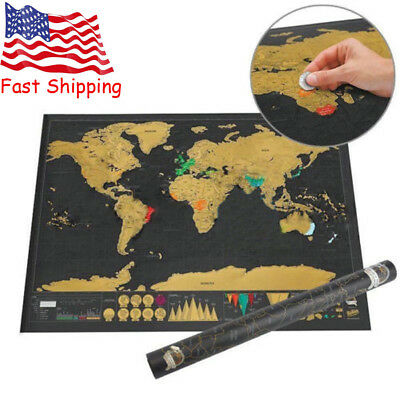 Personalized World Map Poster Deluxe Travel Edition Scratch Off Journal Log Gift