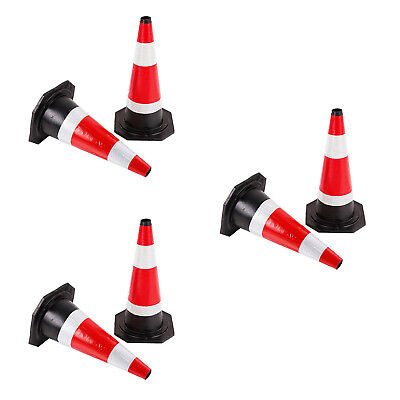"""6 X Road Traffic cones 18"""" (450mm) Self weighted safety Barriers Control Sign"""