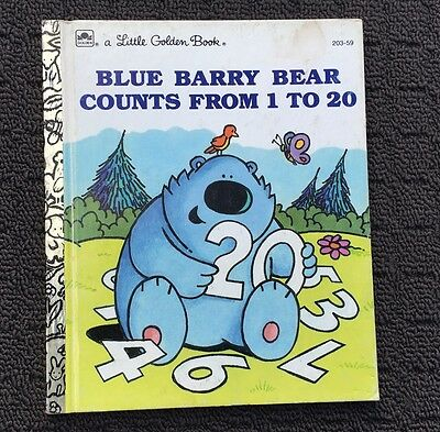 BLUE BARRY BEAR COUNTS FROM 1 TO 20 Kid's Story Book (1991) A Little Golden Book
