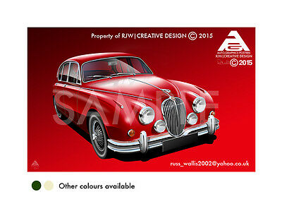 Jaguar Mk2 A3 Poster Illustration