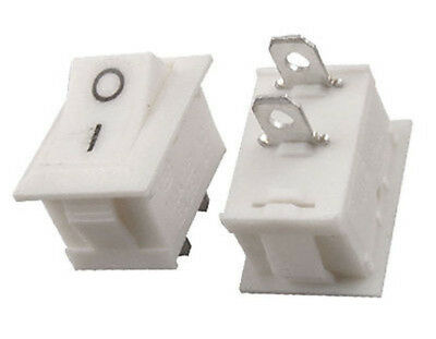 White Mini Rocker Switch SPST ON-OFF. 1 or 6 pack. 240V 3A FREE POSTAGE