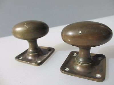 Victorian Bronze Door Knobs Handles Square Plates Antique Vintage Old