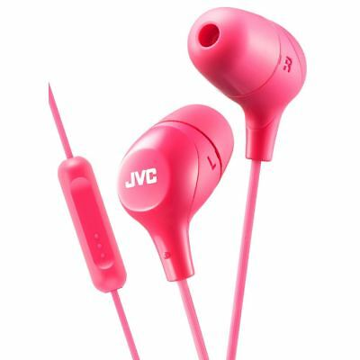 JVC HAFX38MP Marshmallow Custom Fit In-Ear Headphones with Remote & Mic - Pink