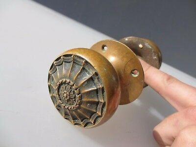 Victorian Bronze Door Knobs Handles Antique WT&S Tonk Adam Style Husks Flowers