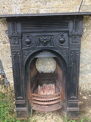 Victorian cast iron fireplace frontage antique fire surround.