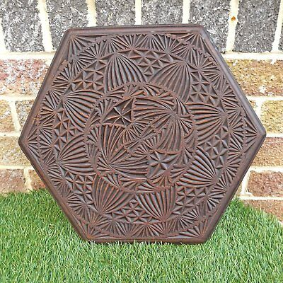 Vintage / Antique Geometrically Carved 6 Sided Table Top - Arabic / Moroccan?
