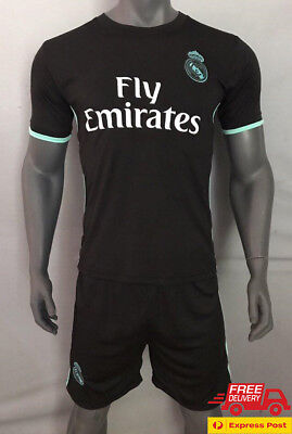Real Madrid Jersey Away Kit 2017/18 Soccer Football Men Size M Black and Teel