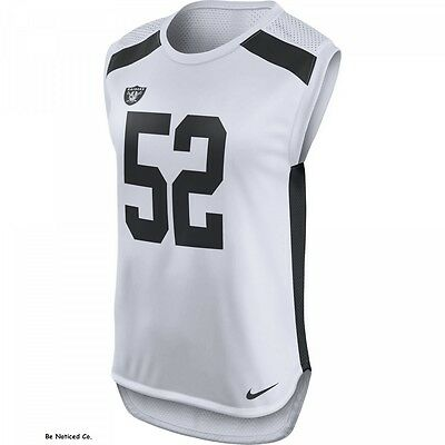 Nike Mack Oakland Raiders Women's Sleeveless Jersey Shirt S M L White Tank Top