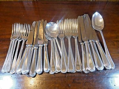 "SILVER PLATED 31 pieces ""BEAD"" CANTEEN/SET CUTLERY - knives/forks/soups"
