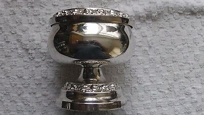 Vintage Silver Plated Rose/posy Bowl With Patterned Grille & Base