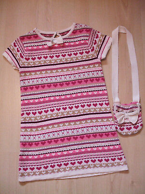 "Matalan Pink Striped ""heart""theme  Cotton Jumper  Dress Bag Outfit  Age 3 - 4Yrs"
