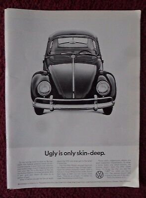 1966 Print Ad Volkswagen VW Bug Beetle Automobile ~ Ugly Is Only Skin-Deep