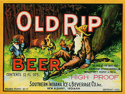Old Rip Beer Label T Shirt S. Indiana Brew New Albany Sizes Small-Xxxlarge (F)