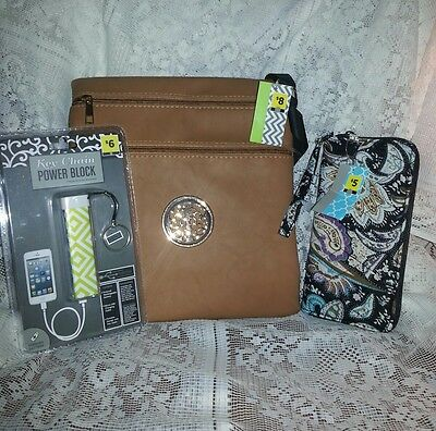handbag , wallet, and power supply for cell phone lot #243
