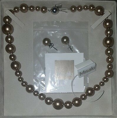 New Misaki Monaco Bronze Pearl Necklace and Earring Set