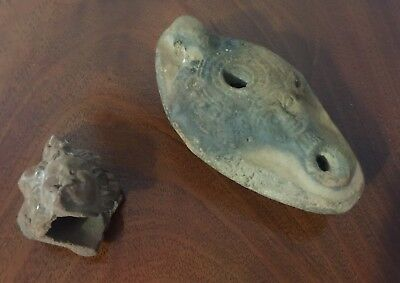 Antique Egyptian Hathor Lady of Heaven Oil Lamp & handmade Clay Head