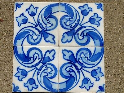 """SANT'ANNA Portugal Hand Painted Floral Ceramic Blue White Accent Tiles 1975 5.5"""""""