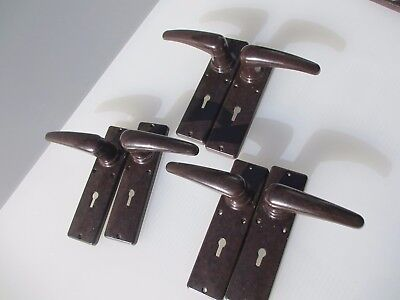Vintage Bakelite Lever Door Handles Art Deco Architectural Antique Old 3 pairs