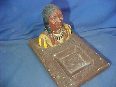 1930s NATIVE AMERICAN Indian HEAD Figural CHALKWARE DESK TRAY Hand Painted