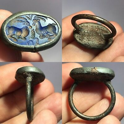 Near Eastern Intaglio Bronze Wonderful  Lapis stone ring