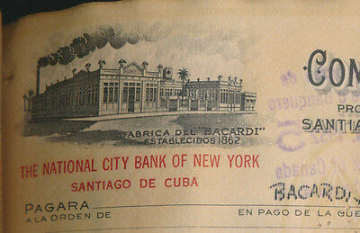 1952 BACARDI in CUBA x 25 check documents CONS #s  National City Bank New York