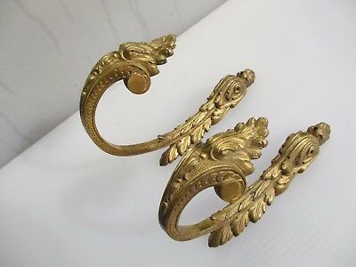 Antique Brass Curtain Tie Backs Hooks French Rococo Baroque Gilt Vintage 1800's