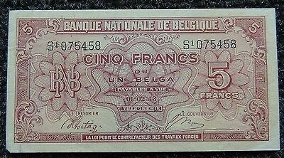 BELGIUM     1943-45       5 Francs / 1 Belga         KM-121          NEAR  MINT
