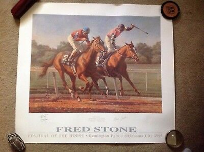 "Fred Stone ""the Duel"" Horses ""affirmed"" & ""alydar"" Signed Print"