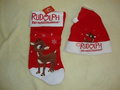 Rudolph The Red Nosed Reindeer Christmas Stocking & Light Up Santa Hat Nwts