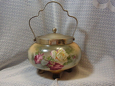 Antique Vintage Footed Biscuit Jar Hand Painted Roses~ England