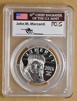 2016 $100 1 oz Proof Platinum American Eagle Statue PR69DCAM PCGS Mercanti Sign