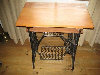 Antique /Vintage Treadle Sewing machine TABLE - Oak top